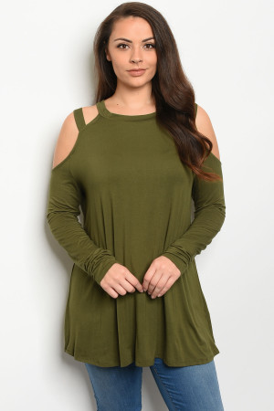 C32-A-4-D5194X OLIVE PLUS SIZE TOP 3-2-1