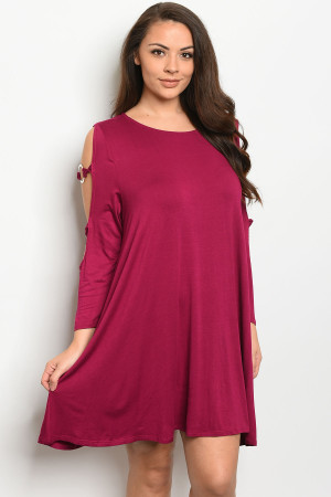C36-A-1-D9777X MAGENTA PLUS SIZE DRESS 3-2-1
