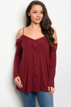 C42-A-4-T5153X BURGUNDY PLUS SIZE TOP 3-2-1