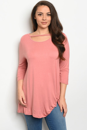 C46-A-7-T8032X ROSE PLUS SIZE TOP 3-2-1