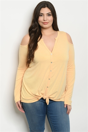 C48-A-2-T8315X YELLOW PLUS SIZE TOP 3-2-1