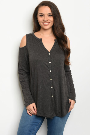 C50-A-7-T8315X CHARCOAL PLUS SIZE TOP 3-2-1