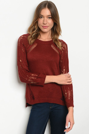 S11-8-4-T6005 BURGUNDY SWEATER 2-2-2