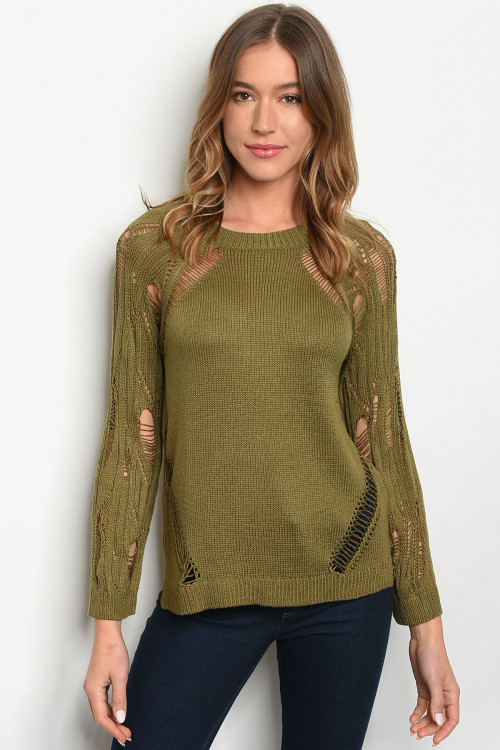 S12-10-3-T6005 OLIVE SWEATER 2-2-2