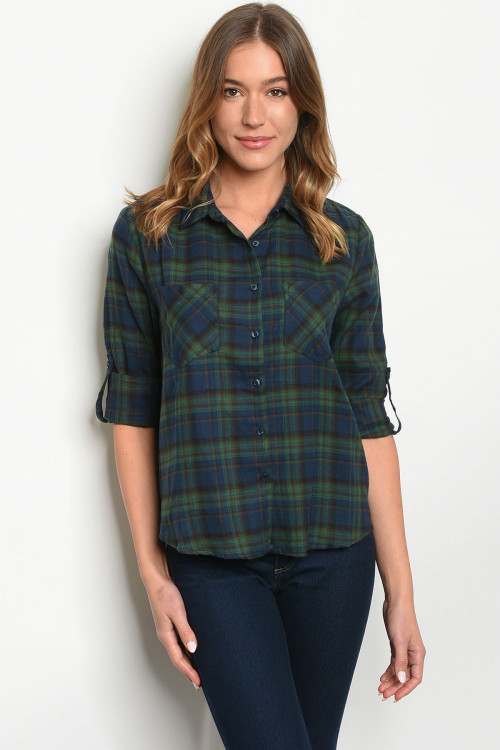 S14-3-2-T43421 TEAL CHECKERED TOP 1-2-2-1
