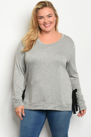 C85-A-3-T10306X GRAY PLUS SIZE TOP 2-2-2