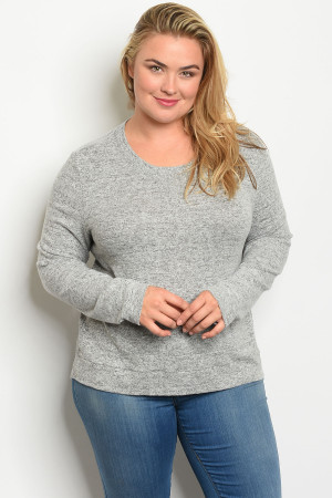 C83-A-3-T10411X GRAY PLUS SIZE TOP 2-2-2