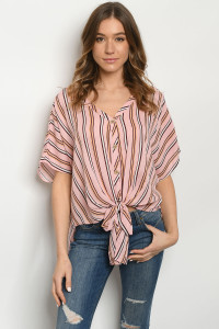 C74-B-3-T2713 PEACH BROWN STRIPES TOP 2-2-2