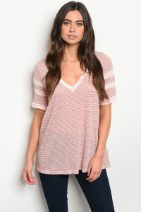 C76-A-2-T90468 MAUVE STRIPES TOP 2-2-2