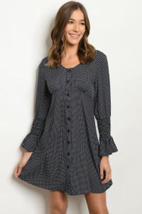 S22-8-3-D345 NAVY WITH DOTS DRESS 2-2-2-1