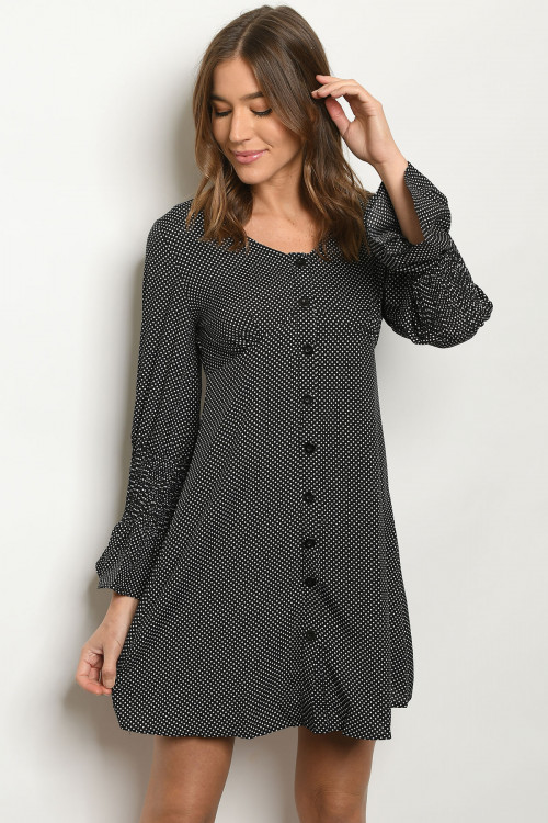 S10-9-3-D345 BLACK WITH DOTS DRESS 2-2-2