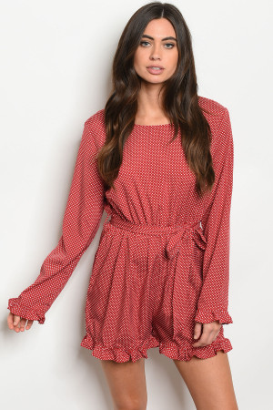 S14-10-3-R059 RED WITH DOTS ROMPER 2-2-2-1