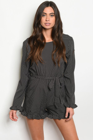 S14-10-3-R059 BLACK WITH DOTS ROMPER 2-2-2-1