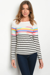 S15-3-4-T10006 IVORY MULTI STRIPES TOP 2-2-2