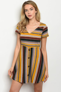 C82-A-7-D9815 MUSTARD TAUPE STRIPES DRESS 2-2-2