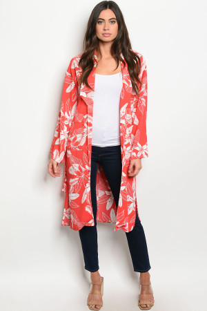 S19-7-5-K3465 RED WITH LEAVES PRINT KIMONO 3-2-1