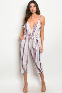 S16-6-3-J53627 IVORY NAVY STRIPES JUMPSUIT 1-2-2-1