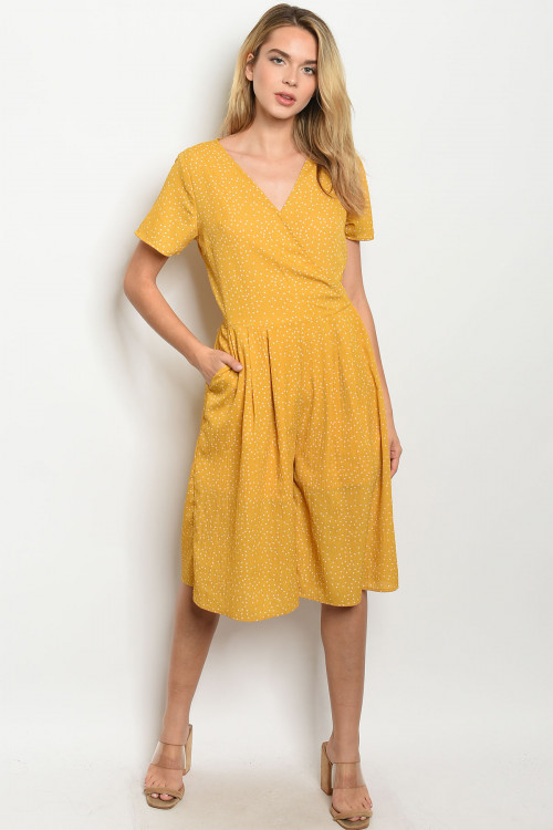 S14-4-3-J3446 MUSTARD WITH DOTS JUMPSUIT 2-2-2
