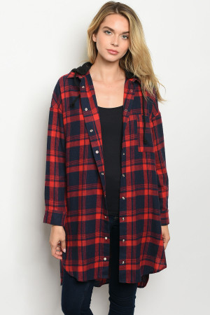 S10-1-1-J3061 RED NAVY CHECKERED JACKET 2-2-2