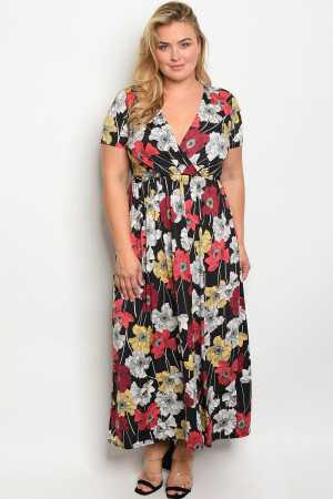 C95-A-2-D3145X BLACK FLORAL PLUS SIZE DRESS 2-2-2