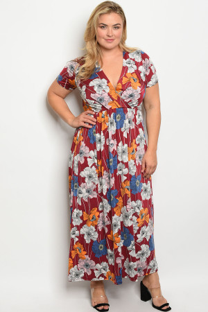 C91-A-2-D3145X BURGUNDY FLORAL PLUS SIZE DRESS 2-2-2