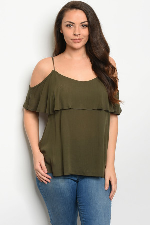 C73-B-3-T3244X OLIVE PLUS SIZE TOP 2-2-2