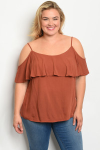 C72-B-1-T3244X RUST PLUS SIZE TOP 3-2-2