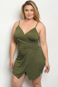 C77-A-4-R1308X OLIVE WITH DOTS PLUS SIZE ROMPER 2-2-2