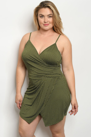 C74-A-1-R1308X OLIVE WITH DOTS PLUS SIZE ROMPER 3-1-1