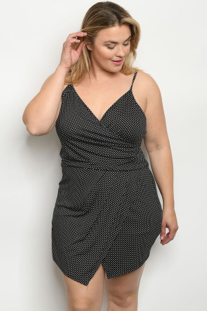 C73-A-4-R1308X BLACK WITH DOTS PLUS SIZE ROMPER 2-2-2