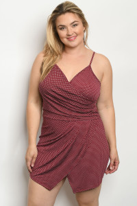C71-A-3-R1308X BURGUNDY WITH DOTS PLUS SIZE ROMPER 2-2-2