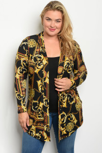 C29-A-4-C771X BLACK GOLD PRINT PLUS SIZE CARDIGAN 2-2-2