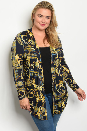 C33-A-3-C771X NAVY GOLD PRINT PLUS SIZE CARDIGAN 2-2-2