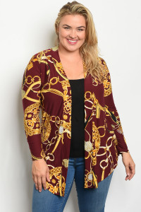 C31-A-7-C771X WINE GOLD PRINT PLUS SIZE CARDIGAN 2-2-2