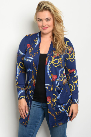 C45-A-5-C714X NAVY CHAIN PRINT PLUS SIZE CARDIGAN 2-2-2