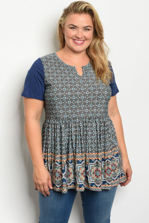 C46-A-4-D735X NAVY PRINT PLUS SIZE TOP 2-2-2