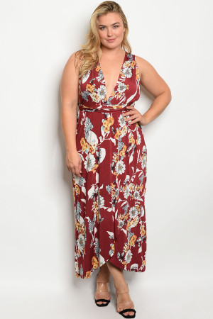 C57-A-3-D1740X BURGUNDY FLORAL PLUS SIZE DRESS 2-2-2