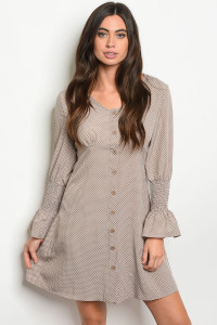 S15-12-2-D345 TAUPE WITH DOTS DRESS 2-2-2