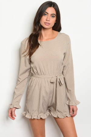 S19-11-4-R059 TAUPE WITH DOTS ROMPER 2-2-2