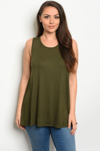 S15-5-4-T12807X OLIVE PLUS SIZE TOP 3-2-1