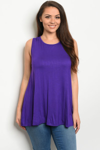 S13-6-2-T12807X PURPLE PLUS SIZE TOP 3-2-1