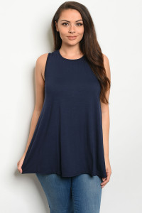 S10-1-2-T12807X NAVY PLUS SIZE TOP 3-2-1