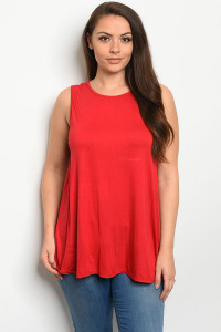 S18-1-4-T12807X RED PLUS SIZE TOP 3-2-1