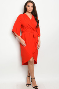 S23-11-3-D3589X RED PLUS SIZE DRESS 2-2-1