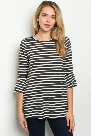 C34-A-2-T4634 IVORY CHARCOAL STRIPES TOP 2-2-2-1