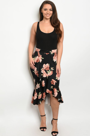 S14-8-2-S12922X BLACK FLORAL PLUS SIZE SKIRT 2-2-2