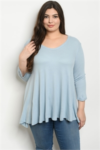 S15-5-4-T13033X BLUE PLUS SIZE TOP 1-2-1