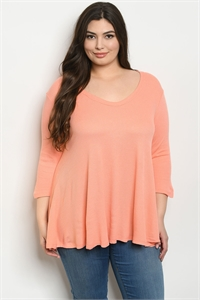 S9-5-4-T13033X PEACH PLUS SIZE TOP 2-2-2