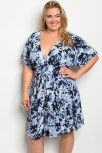 C102-A-3-D13776X NAVY TYE DYE PLUS SIZE DRESS 2-2-2