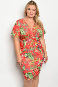 C102-A-7-D13856X RED W/ PRINT PLUS SIZE DRESS 2-2-2